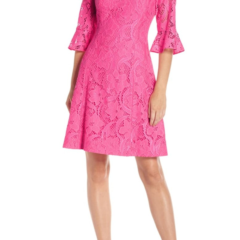 "Lilly Pulitzer Like new cond Allyson Lace Dress, Hot Pink, Size: 12<br /> <br /> ""The Allyson Dress is the perfect date night style with its flirty flounce sleeves and floral vines lace. We love the v-back neckline for a touch of the unexpected.<br /> <br /> A girl needs options: Enjoy an extra 1 3/4 inches of hem flexibility with this style. Wear as-is or let it out for some extra length.<br /> <br /> Please Note: This item is more vibrant in person. Our cameras just can't handle all this color!<br /> <br />     Fit And Flare Lace Dress With Elbow Length Flounce Sleeves And V-Back Neckline.<br />     37"" From Top Of Shoulder To Hem.<br />     Length: Knee Length.<br />     Floral Vines Lace (71% Nylon, 29% Cotton).<br />     Hand Wash Cold. Separately.""<br /> <br /> Photo and description credits: Lillypulitzer.com"
