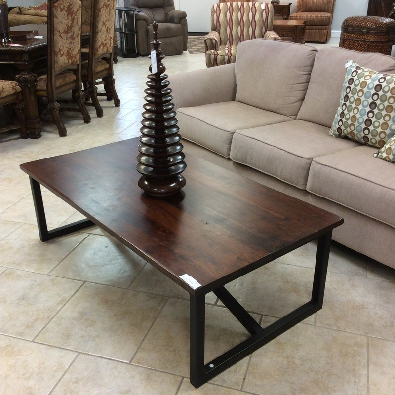 "This coffee table is modern and sleek, a beautiful combination of metal and wood with a dark cherry finish called Asbury. Simple and straightforward, it's large at 56"" in width. Very good conditon too!"