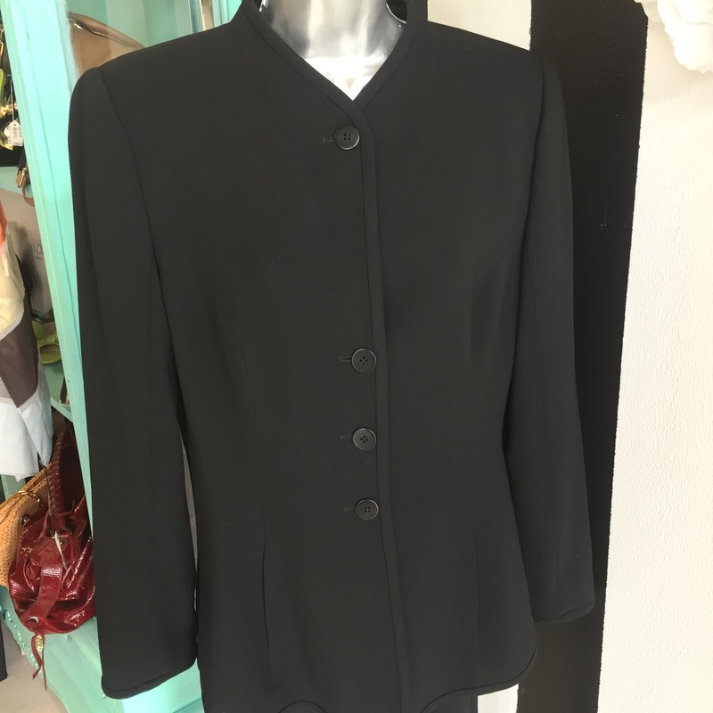 GORGEOUS Giorgio Armani jacket. Black interior and exterior. Front buttons, no collar. Gently used, no signs of use. Dry clean only. Italian size 50 (US size 16). Retail approx: $1,199. WON'T LAST!