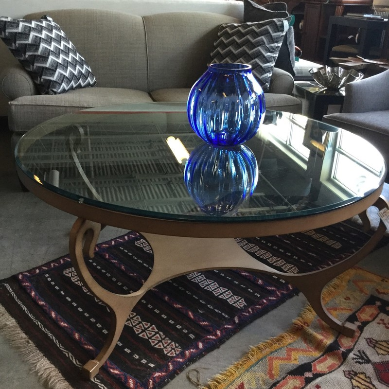 "Round Glass Top Table, Bronze Base, Size: 44""X21"""