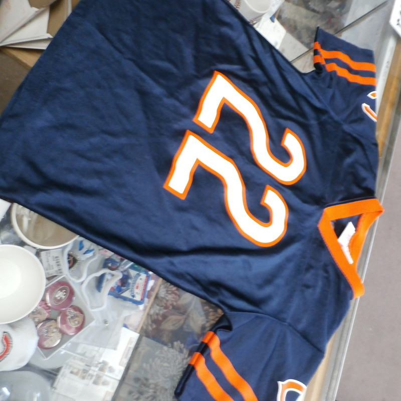 "Youth Chicago Bears Matt Forte Jersey Size Medium(10-12) blue #33268<br /> Rating:   (see below) 3- Good Condition<br /> Team:  Chicago Bears<br /> Player: Matt Forte<br /> Brand: NFL team apparel<br /> Size: Youth Medium(10-12) (Measured Flat: across chest 16"", length 22"")<br /> Measured flat: armpit to armpit; top of shoulder to the bottom hem<br /> Color:   Blue<br /> Style: screen pressed; short sleeve; Jersey;<br /> Material:  100% polyester<br /> Condition: - 3- Good Condition - wrinkled; minor pilling and fuzz; a couple small snags; there are cracks in the letters & numbers print;<br /> Item #: 33268<br /> ShippingFREE"