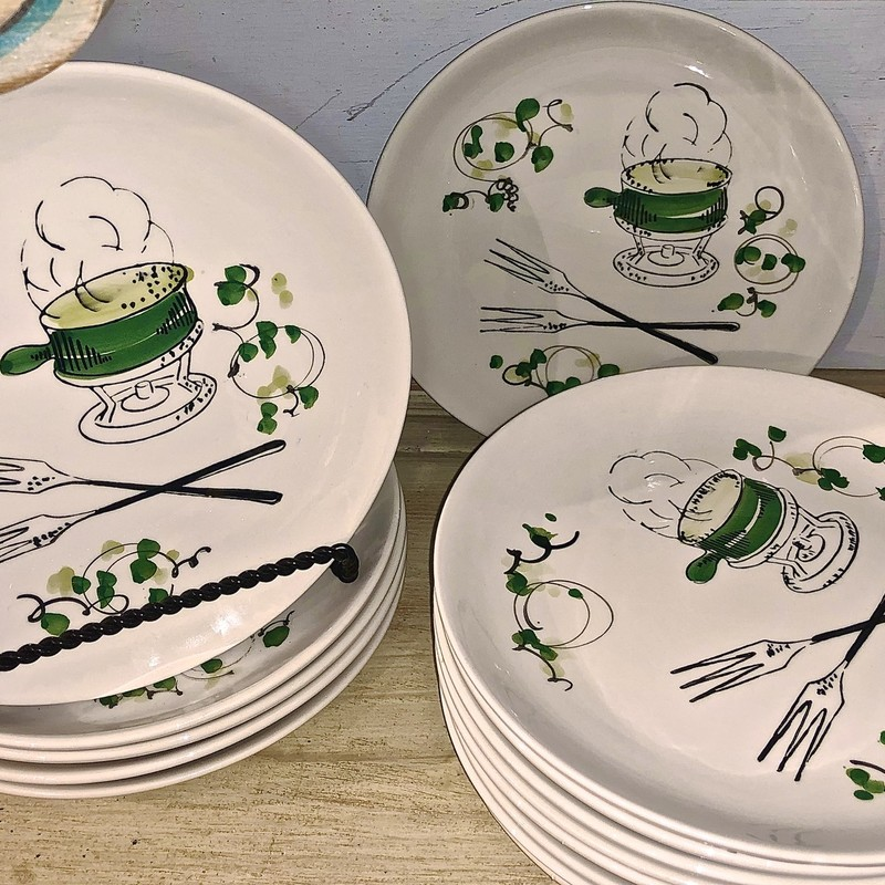 Plates/Italy/Handpainted, Wht/Gr, Size: Set Of 14