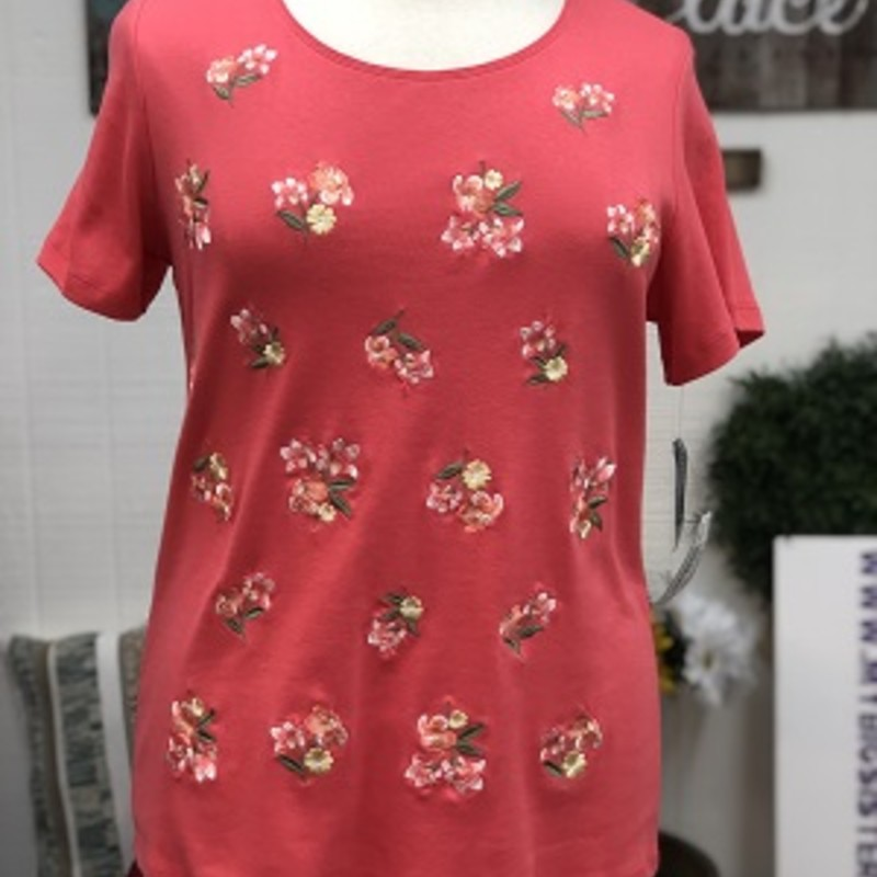 Karen Scott Coral Floral Top is so pretty. It is size 0X.   It is short sleeve.  This can be worn with any type of bottom.  It is 100% Cotton.  It is 27.5 inches long.
