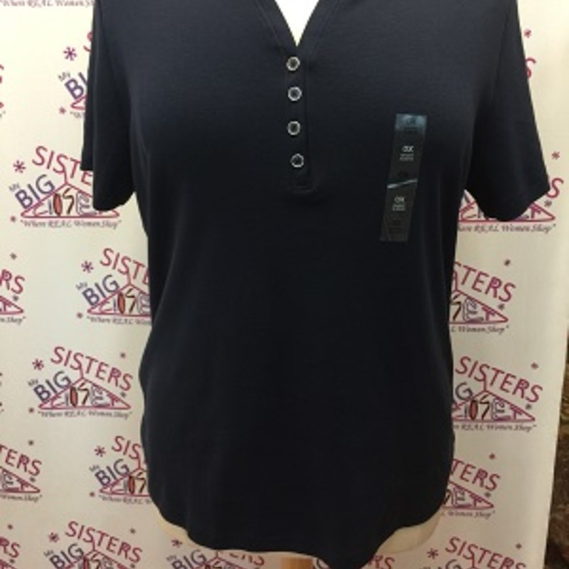 Karen Scott Navy shirt with 4 buttons is PRETTY.  This is new with tags.  It is a size 0X.    It is very stretchy and it's made of 100% Cotton.  It is 28 inches long.