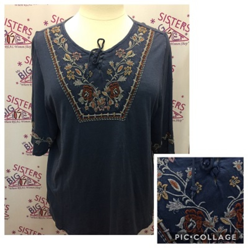 Style & Co. Blue shirt with a floral design around neckline and sleeves is GORGEOUS.  This is new with tags.  It is a size 1X.  It has bell sleeves.  It is very stretchy and it's made of 60% Cotton and 40% Modal.  It is 27 inches long.