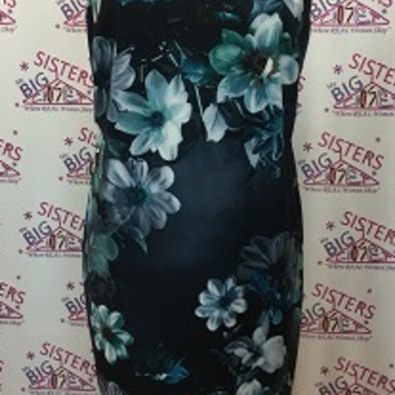 Calvin Klein Dress is navy with flowers.  It is a size 14.  It is BEAUTIFUL.  You can wear this dress anywhere.  This can go from the office to out on the town that night.  It  zips down the back and it is fully lined.  It is 94% Polyester and 6% Spandex.  It is 42 inches long.