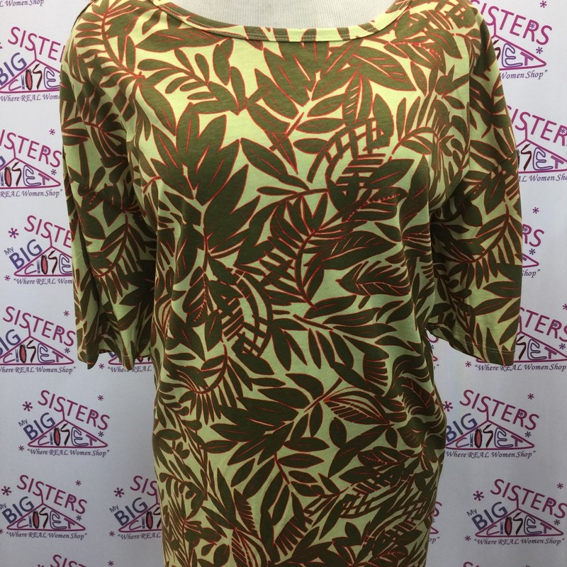 Woman Within Short Sleeve Multi Color Top. This is new with tags.  It is a size 34/36.  It has a design of leaves.  This has beautiful colors.  This can go with any type of bottom you choose.  It is very stretchy.  It is made of 100% Cotton.  It is 33 inches long.