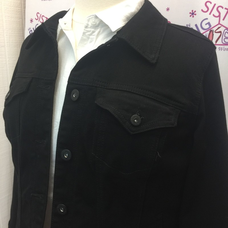 Style & Co. Black light weight denim jacket.  This is new with tags. It is a crop jacket.   It is a size 14W.  This would be great to add to any outfit.  It has a light stretch to it.  It is made of 74% Cotton, 24% Polyester, and 2% Spandex.  It is 22 inches long.