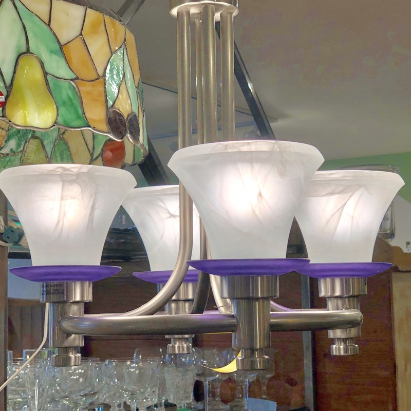 Chandelier/4Lamps, Silver/Plate