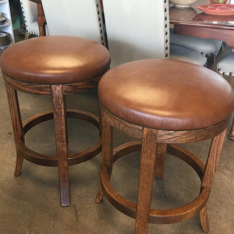 "Pair of Leather Bar Stools, Wood Base, Measures 26"" Seat Height"