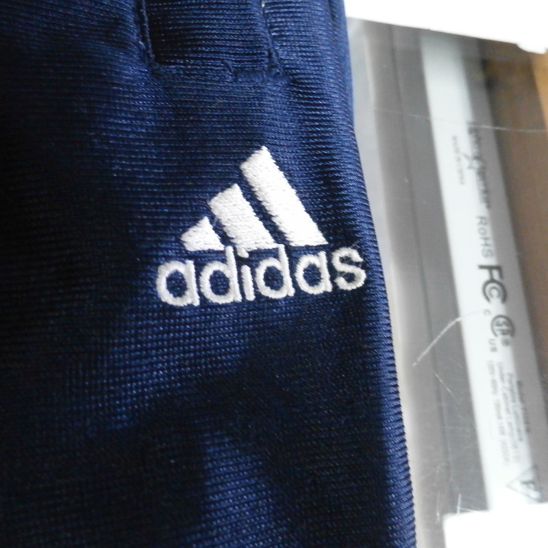 "adidas Men's Pants blue & gold Size Large polyester #33431<br /> Rating:   (see below) 3- Good Condition<br /> Team: N/A<br /> Player: N/A<br /> Brand: adidas<br /> Size: Men's   Large (Measured Flat: across waist 14"", length 42"" Inseam 28"" )<br /> Measured flat: hip to hip; hip to hem; and groin to hem<br /> Color: Blue & gold<br /> Style: elastic waist; embroidered; has pockets; Pants;<br /> Material:  100% polyester<br /> Condition: - 3- Good Condition - wrinkled; pilling and fuzz; some stretching from use;<br /> Item #: 33431<br /> Shipping: FREE"