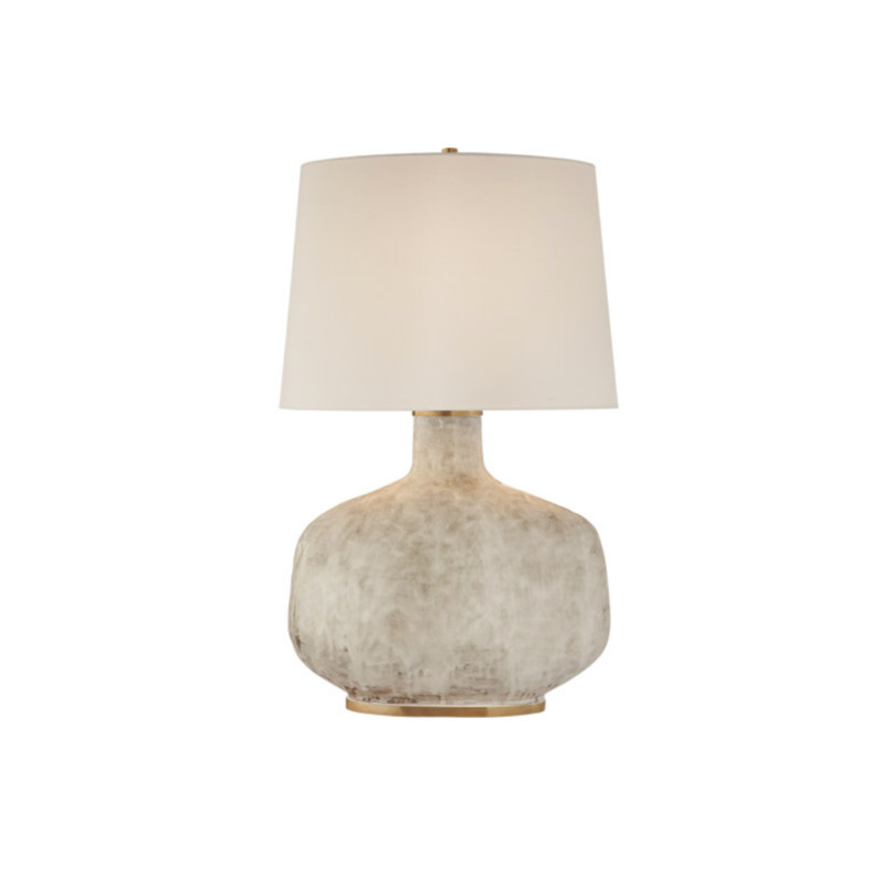 Visual Comfort Table Lamp<br /> Visual Comfort KW3614AWC-L<br /> Kelly Wearstler Beton 35 inch 75 watt Antiqued White Ceramic Table Lamp Portable Light<br /> Beton Large Table Lamp in Antiqued White Ceramic does not come with Shade. All Visual Comfort fixtures feature a living finish that will patina over time. Finish colors can vary due to application per each fixture.<br /> <br /> Brand Information<br /> Brand: Visual Comfort<br /> Collection: Kelly Wearstler Beton<br /> SKU: KW3614AWC-L<br /> UPC: 756808941402<br /> Dimensions and Weight<br /> Width: 21.50 in.<br /> Height: 35.00 in.<br /> Other Specifications<br /> Ships Via: Ground ( FREE SHIPPING )<br /> Switch: Dimmer on Socket<br /> Additional Details<br /> Base: 12.5in Round