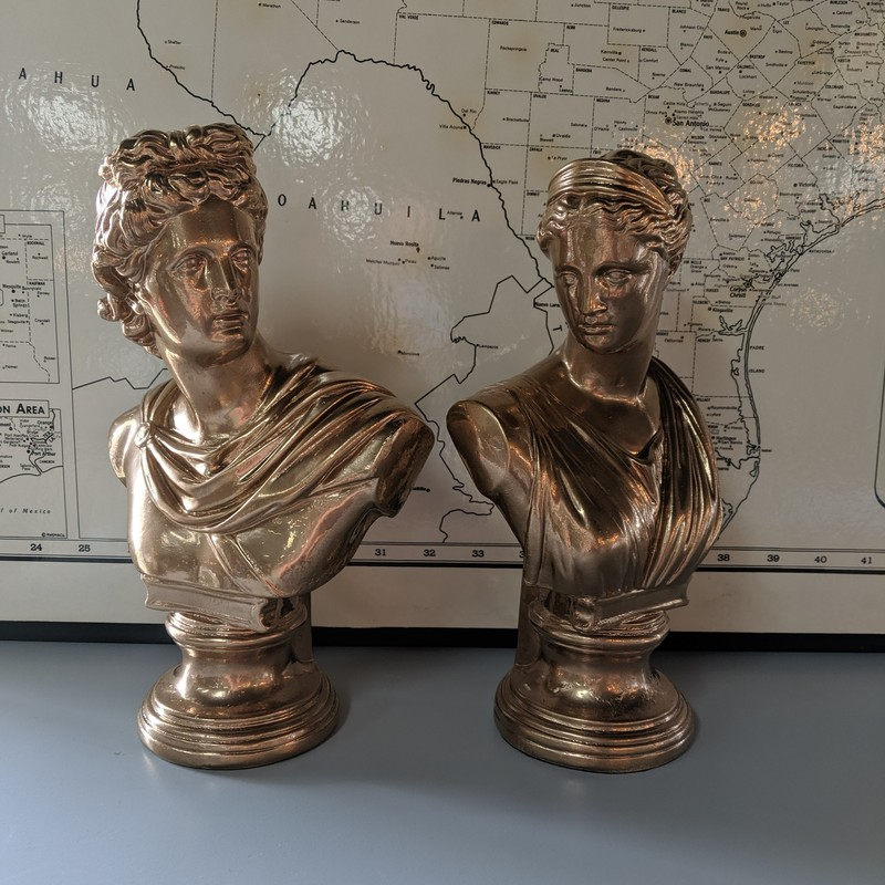 "2 Greek Busts Painted<br /> Copper<br /> Size: 11.75"" Hig"