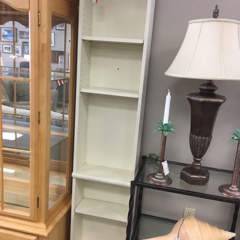 Narrow Painted Bookcase, Off Whte, Size: 15x7x76