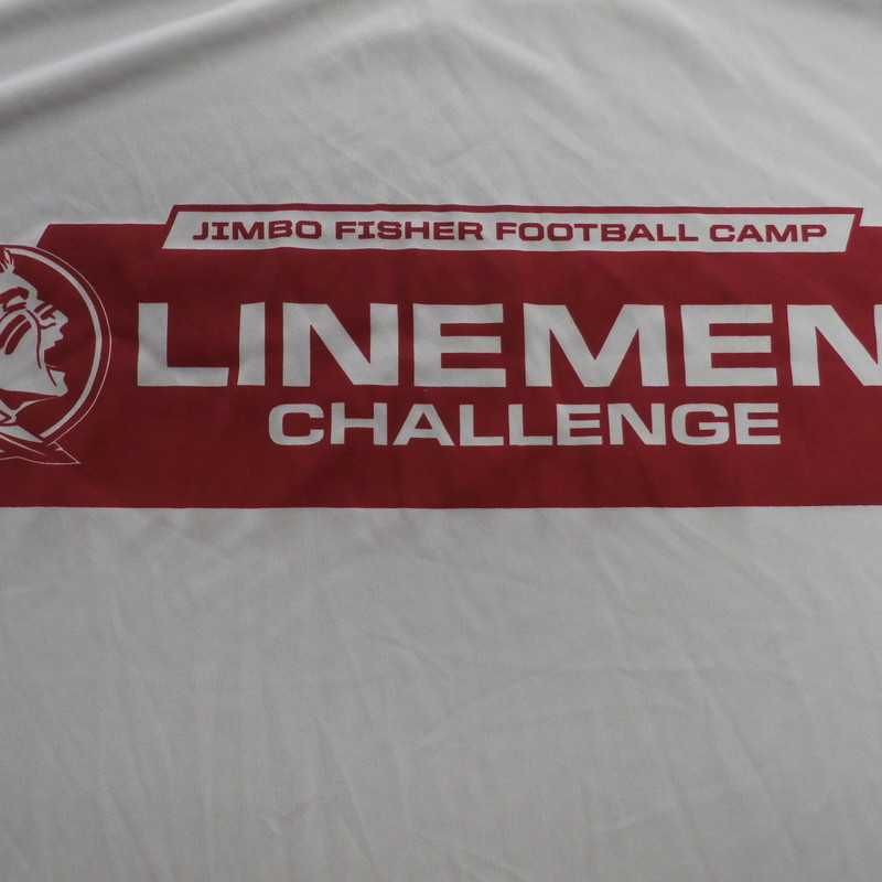 "Men's FSU Seminoles Jimbo Fisher lineman challenge shirt gray size XL #33448<br /> Rating:   (see below) 4- Fair Condition<br /> Team:   FSU Seminoles<br /> Player: Team<br /> Brand: Port & Company<br /> Size: Men's    XL (Measured Flat: across chest 22"", length 30"")<br /> Measured flat: armpit to armpit; top of shoulder to the bottom hem<br /> Color:  gray<br /> Style: screen pressed; short sleeve shirt;<br /> Material:  100% polyester<br /> Condition: - 3- Good Condition - wrinkled; minor pilling and fuzz; minor stretching;<br /> Item #: 33448<br /> Shipping: FREE"