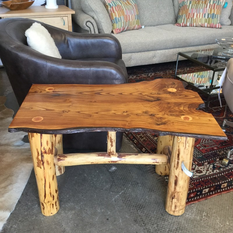 "Live Edge End Table - Locally Made, Wood, Size: 25""X37""X23""h"