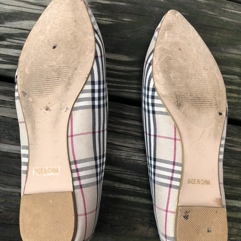 Sole Society Plaid Flats, Plaid, Size: 7.5<br /> Beautiful plaid flats with rhinestone embellishment from the fabulous sole society.