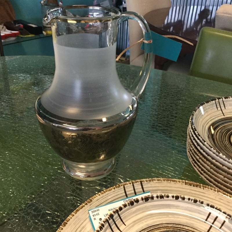 Glass Pitcher, Silver/Frosted, Size: 10""