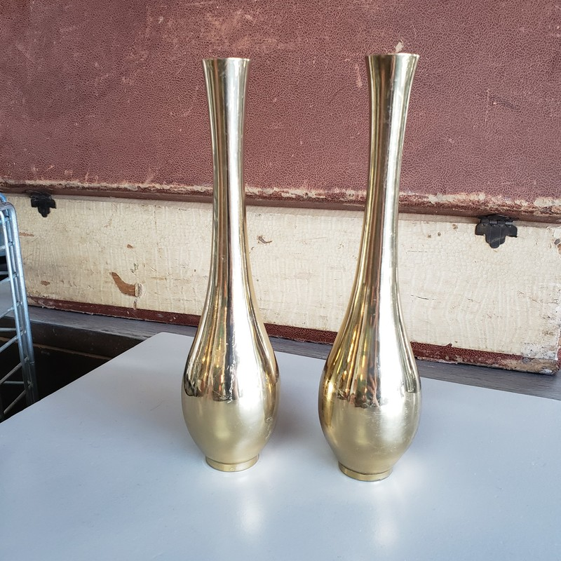 "Pair of heavy solid brass bud vases<br /> <br /> 9"" Tall"