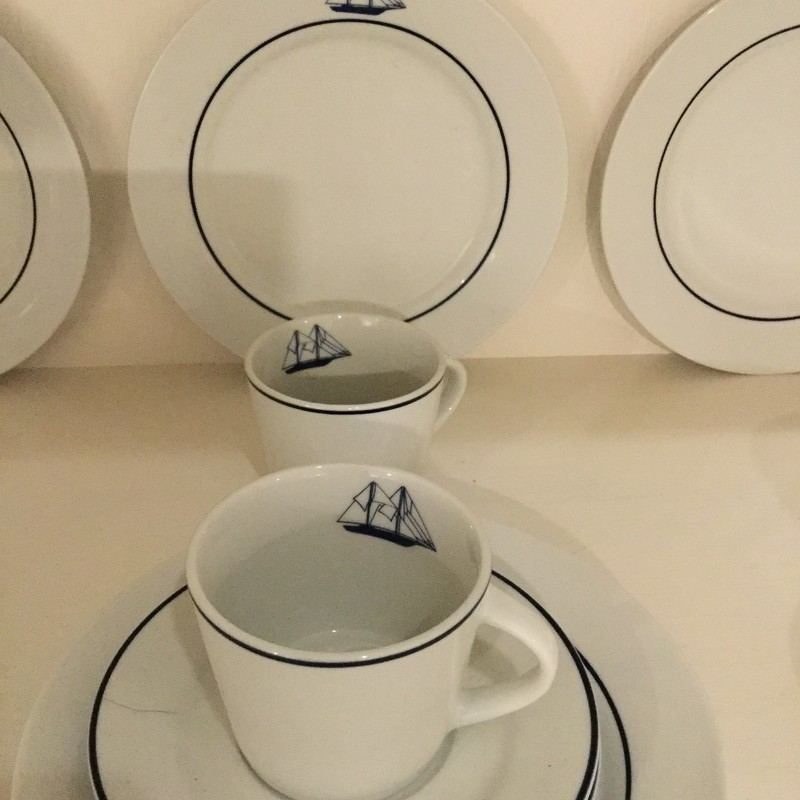 Sail Boat Dishware<br /> White and Blue<br /> 12 Pieces