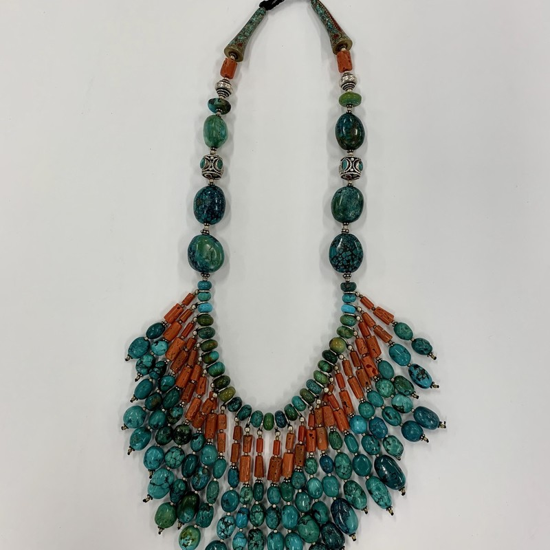 Vintage Tibetan Necklace<br /> Turquoise, Coral & Silver