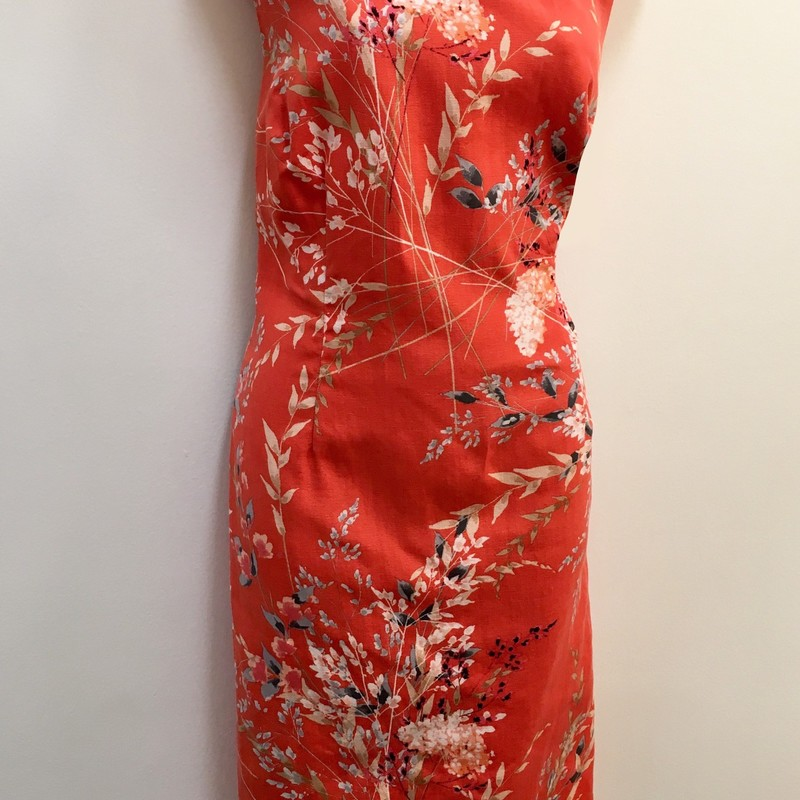 Talbots<br /> Sleeveless<br /> Floral Print<br /> Lined Dress<br /> Coral+<br />  Size: 12