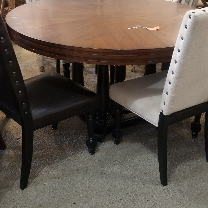 DINING TABLE W/ 4 CHAIRS, None, Size: None