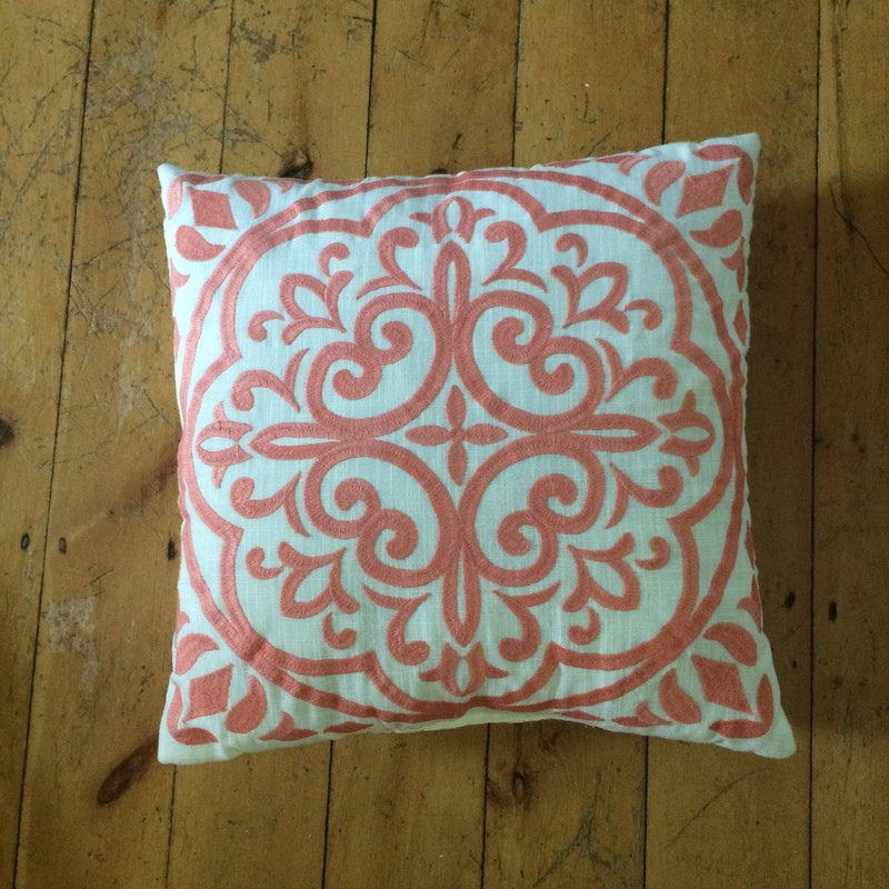 Cream and Coral Embroidered Toss Cushion