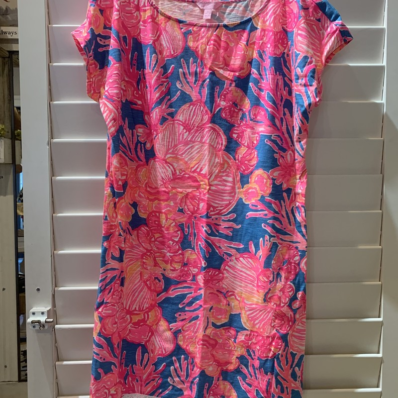 Fun summer t-shirt dress from Lilly Pulitzer in eye catching neon pink. Size small. In good condition.