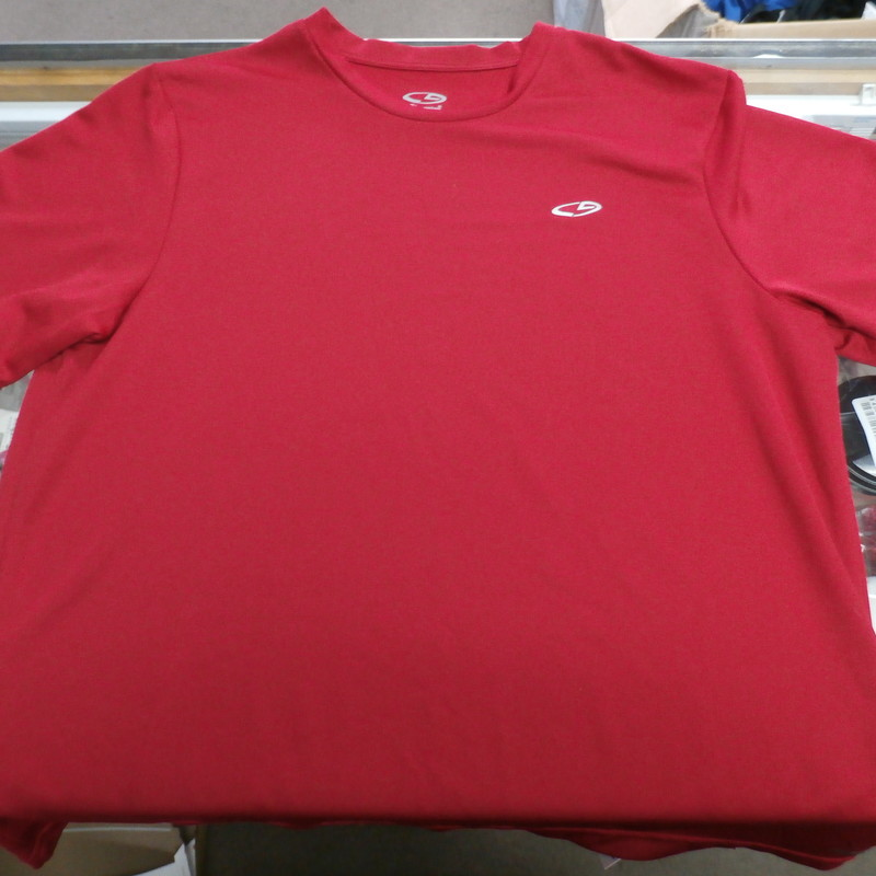 "Champion Men's Shirt red Size Large polyester #25961<br /> Rating:   (see below) 3- Good Condition<br /> Team: N/A<br /> Player: N/A<br /> Brand:  Champion<br /> Size: Men's  Large  (Measured Flat: across chest 20"", length 27"" )<br /> Measured flat: armpit to armpit; top of shoulder to the bottom hem<br /> Color:  Red<br /> Style: Short sleeve; screen pressed; shirt;<br /> Material:  100% polyester<br /> Condition: - 3- Good Condition - wrinkled; minor pilling and fuzz; minor stretching fro use;<br /> Item #: 25961<br /> Shipping: FREE"