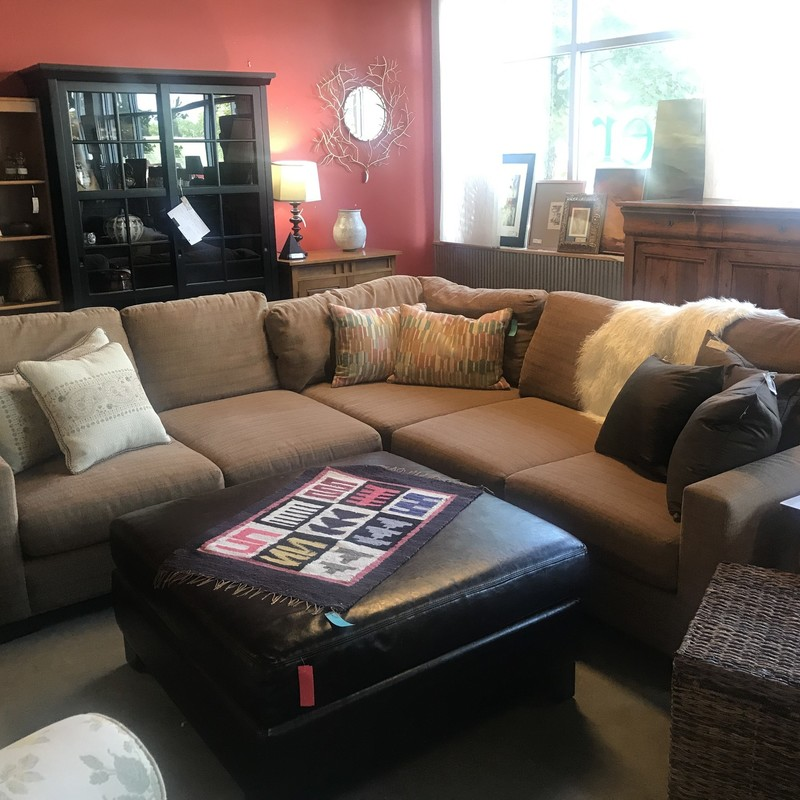"Large Tweed Sectional Sofa, As Is, Size: 105""X105""X44"""