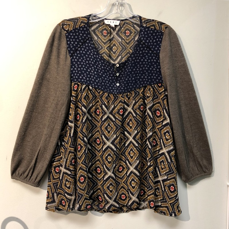 THML Top<br /> Pre-Loved, Excellent Condition.<br /> Size: Large<br /> Colors: Gray, Navy, Brown, Whitem Red<br /> Please see photos for material and care instructions