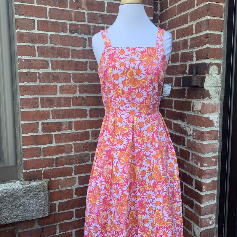 Pink, high neck Lilly Pulitzer midi dress. Size 4. Featured on our instagram!