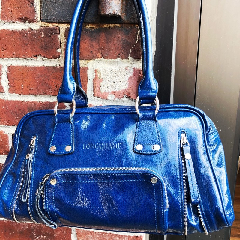 Longchamp Leather Satchel, Blue, Size: Large<br /> Very good condition but bottom of bag has marks and wear. see photos.
