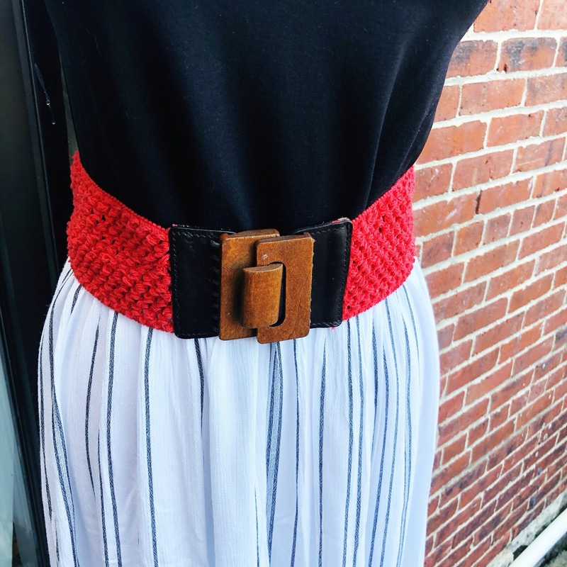 Anthropologie Red Stretch, Red, Size: Large<br /> Wood & Leather front clasp.