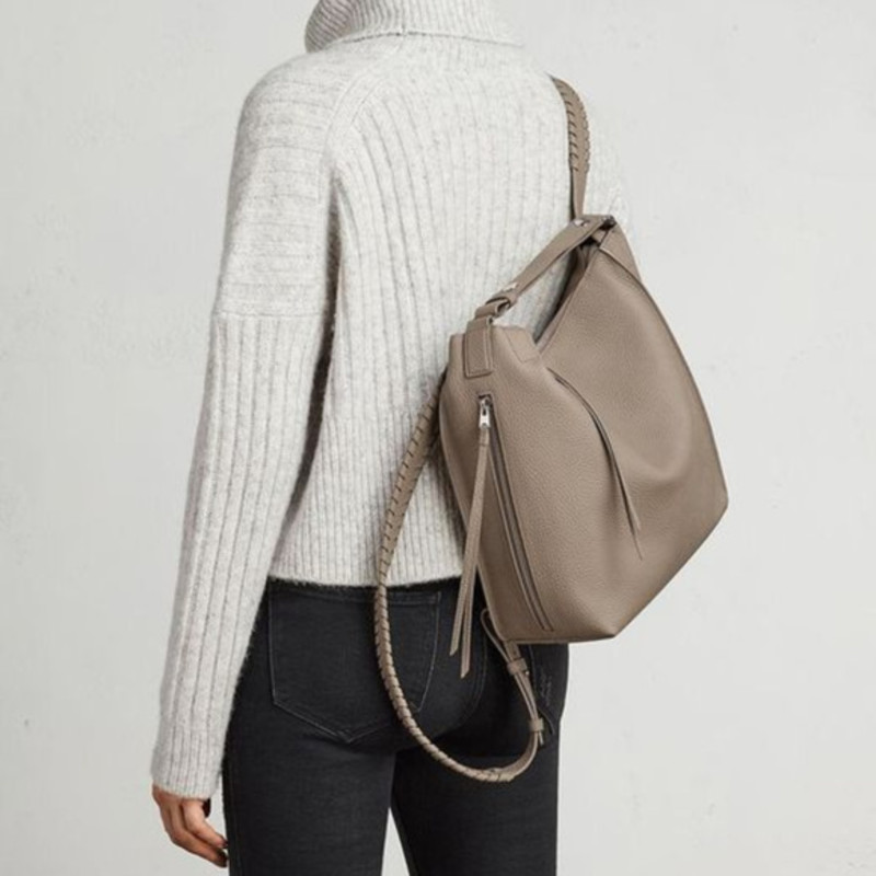 Allsaints small Kita backpack taupe grey, orig. rtl: $398