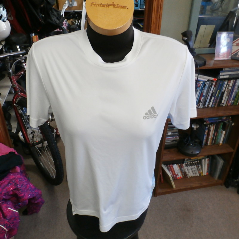 "Adidas ClimaLite women's shirt white size Large 100% polyester #30664<br /> Rating: (see below) 4- Fair Condition<br /> Team: n/a<br /> Player: n/a<br /> Brand: Adidas<br /> Size: Women's Large- (Measured Flat: Across chest 20""; Length 24"")<br /> Measured Flat: underarm to underarm; top of shoulder to bottom hem<br /> Color: white<br /> Style: short sleeve; screen printed<br /> Material: 100% polyester<br /> Condition: 4- Fair Condition: some wear marks on chest; stripes on sides are coming off (see photos)<br /> Item #: 30664<br /> Shipping: FREE"