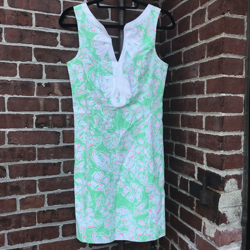 Sleeveless Green Lilly Pulitzer dress with ribbon embellishment around the V-neckline.  size 4