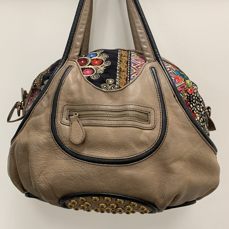 Isabella Fiore Embroidered Satchel<br /> Beige Leather