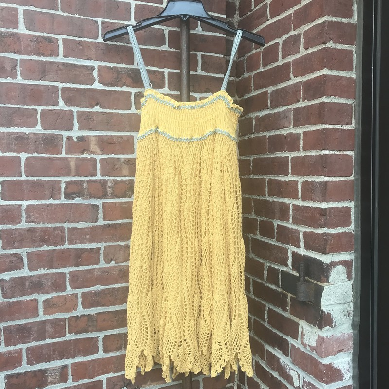 Hazel spaghetti strap dress in Mustard.  elastic smocking on top and crochet woven bottom.  Lined, Size: M