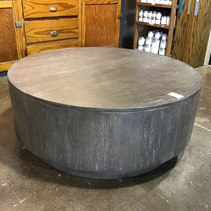 "Round coffee tables are definitely the style right now! This one has been finished in a driftwood style, which makes it perfect for your farmhouse or beach room! Great in front of a sectional or sofa.<br /> Dimensions are 40"" x 15-1/2"""
