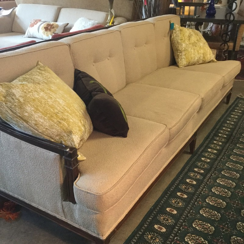"Vintage Wood & Fabric Sofa, 92"" x 31"", Size: Cream"