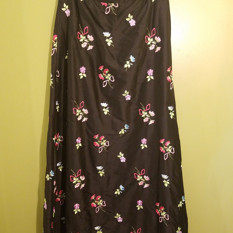 100% silk floral, full length skirt