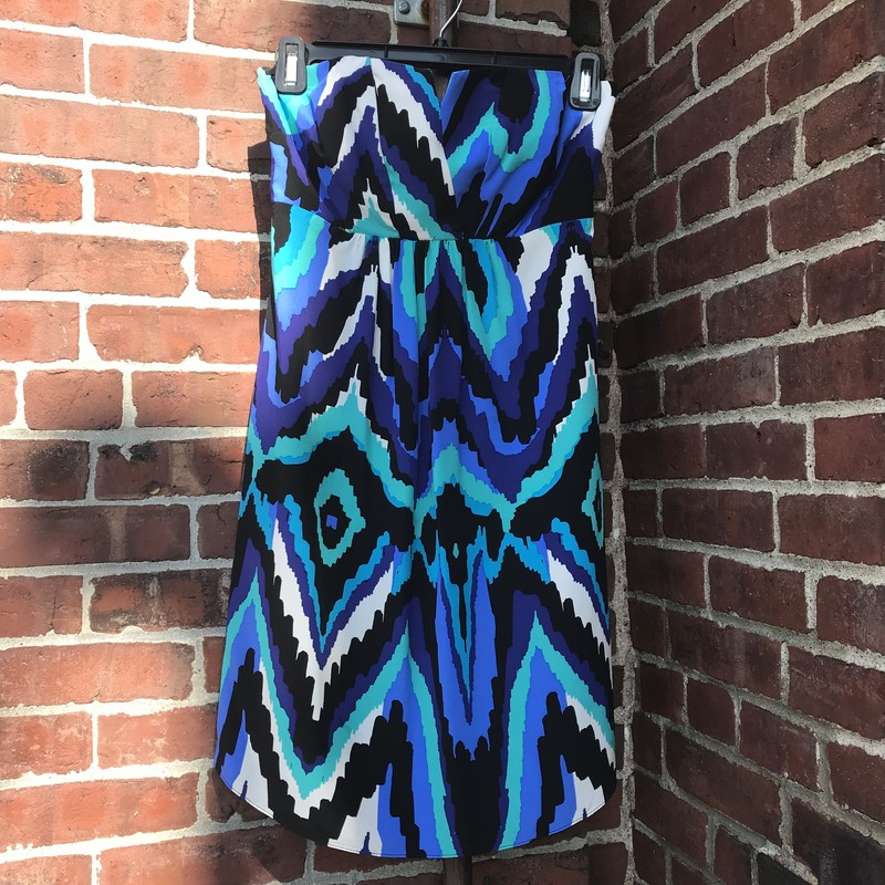 Alice & Trixie dress in, Blue, green and black ikat design.  100% silk Size: M