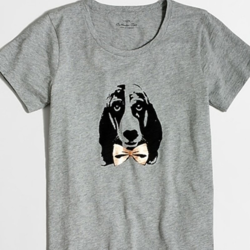 J. Crew Hound dog collector T-shirt size XXS, roomy fit, grey.Cotton.<br /> Slightly loose fit.<br /> Machine wash.<br /> Import.