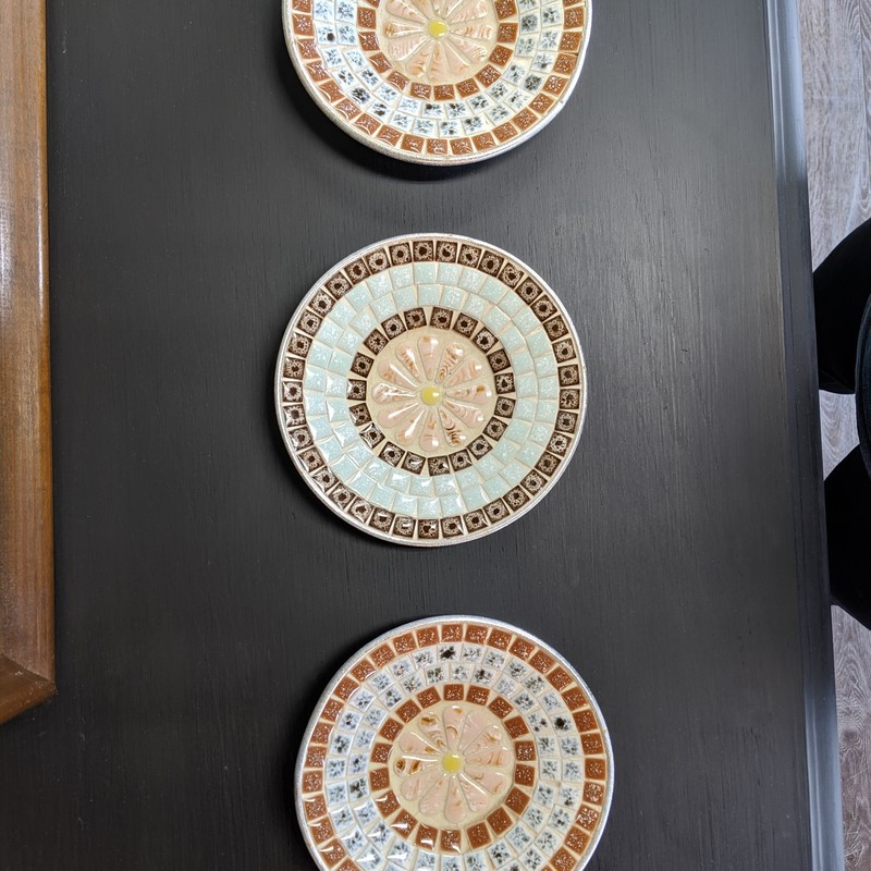 "3 Mosaic Plate Dishes<br /> Multi<br /> Size: 6"" Round<br /> <br /> Slight bend on one pictured"