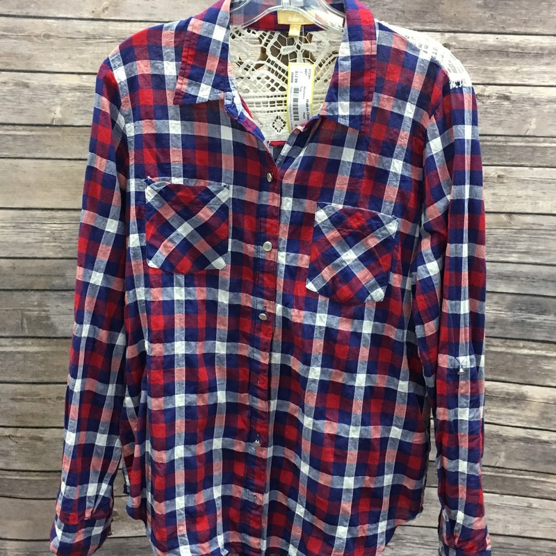 Top, Red, White, and Blue Plaid with a white lace accent design on the back, Size: Medium