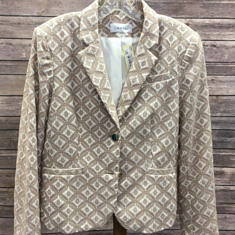 Calvin Klein Blazer, Tan and White with geometric floral print, Size: Large