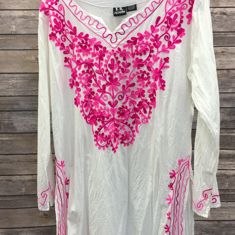 S.R Fashion Top, White with pink floral stitching designs, Size: Large