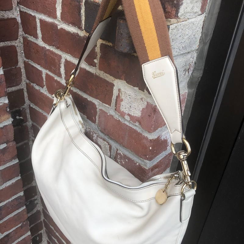 "Leather Gucci Hobo, White, Size: 16"" By 12""<br /> Leather White Gucci Hobo with flat stripe strap.<br /> Strap drop is Removable cotton stripe flat strap is 22"" long, drop is about 11"". Bag is very good conition. Inside is clean, outside has very minor marks. This is a great buy!"